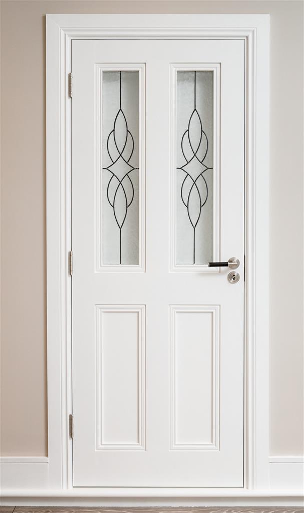 CLAREMONT PRIMED DOOR CATHEDRAL LEADED GLASS 80X32