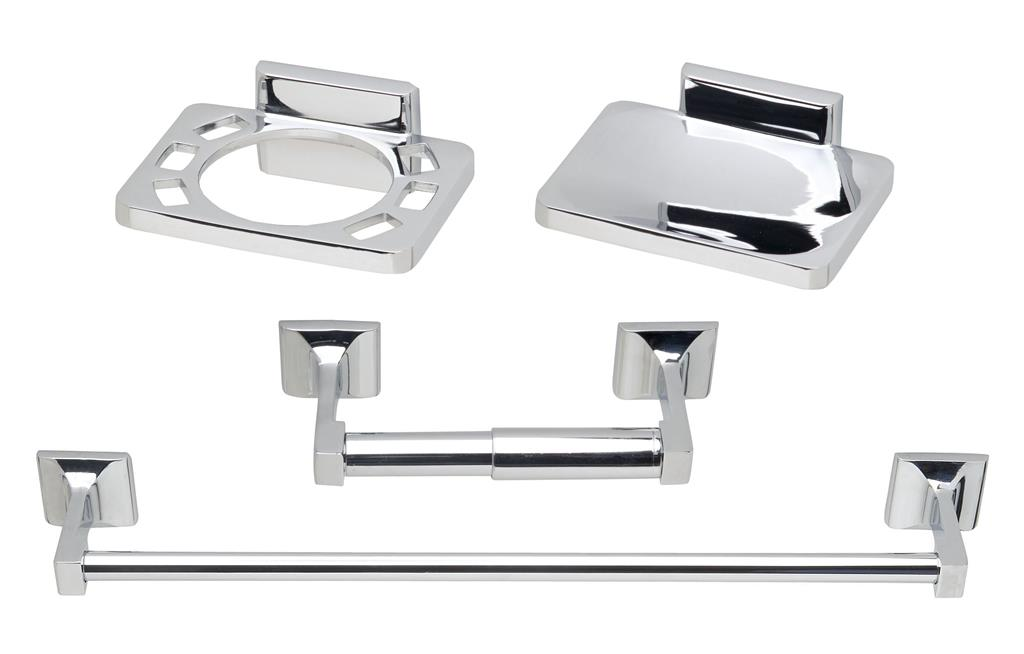 TEMA ROMA CHROME 4 PCE BATHROOM ACCESSORY SET