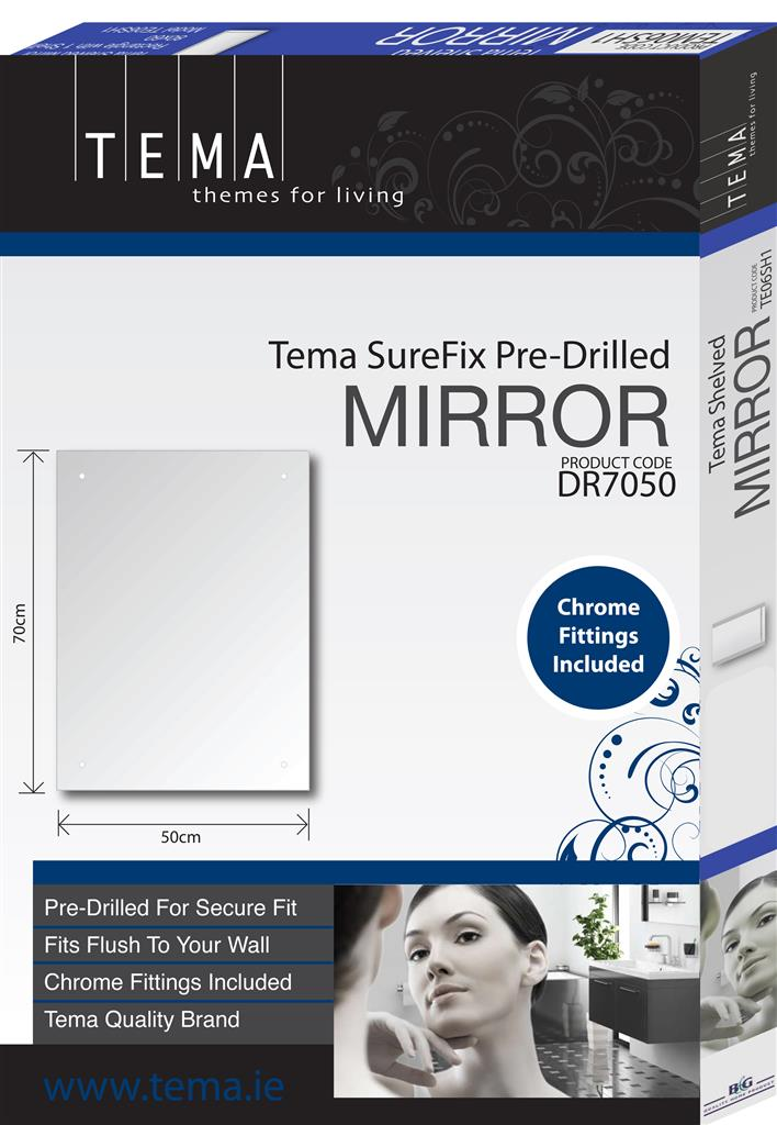 TEMA SUREFIX PRE-DRILLED MIRROR RECTANGLE 45 x 30