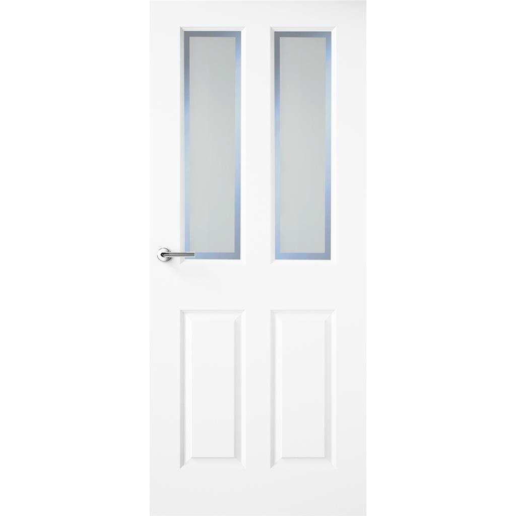 HUDSON WHITE PRIMED DOOR ETCHED GLASS 78X30