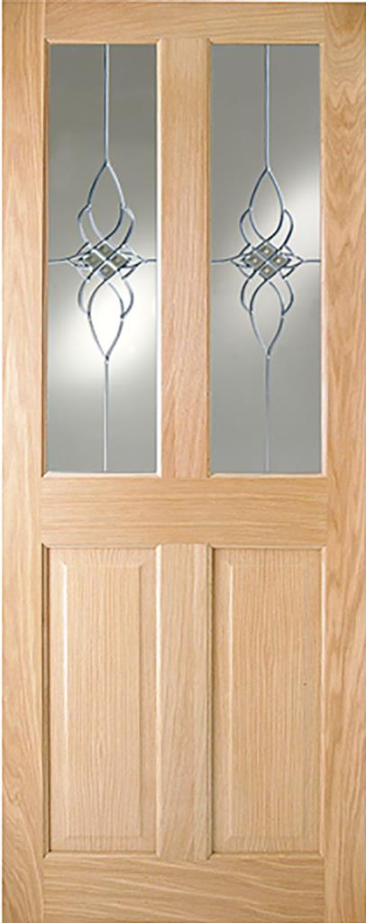 ADDISON PF 4P OAK DOOR TINTERN GLASS 78X30