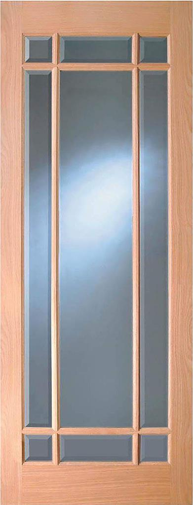 MERVILLE OAK BEVEL GLAZED DOOR PRE-FIN 80X32