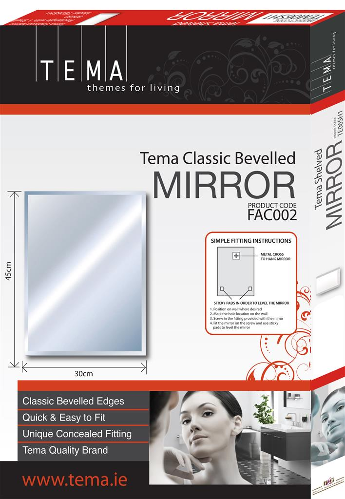TEMA ENSUITE BEVELLED MIRROR 50X40 ARCH TOP