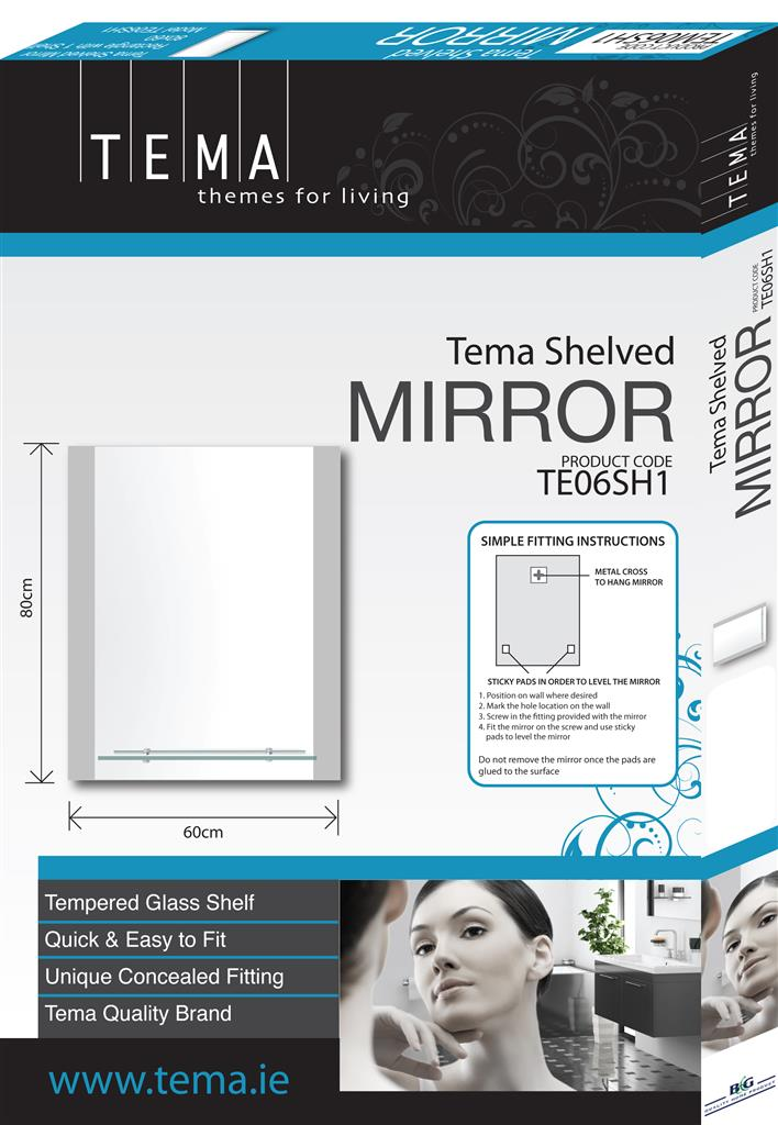 TEMA RECT. BEVELLED MIRROR 80X60 W. 4 SHELVES