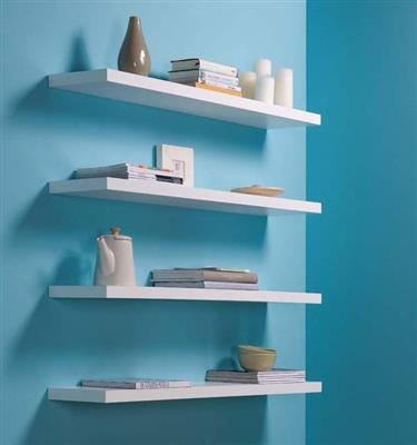 DURALINE FLOAT SHELF 118X23.5CM WHITE LAQ x 3pcs