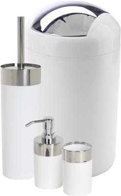 ATHOME 4PC WHITE CHROME SET BIN DISP TUMBLER BRUSH