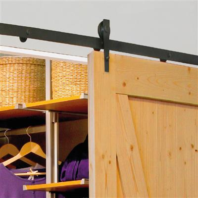 INDOORS 2M 100KG LOFT BLACK SLIDING DOOR RAIL KIT