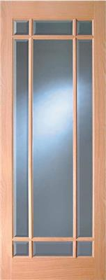 MERVILLE OAK BEVEL GLAZED DOOR PRE-FIN 78X30
