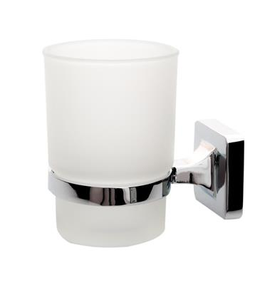 TEMA VERONA TUMBLER HOLDER CHROME w FROSTED GLASS