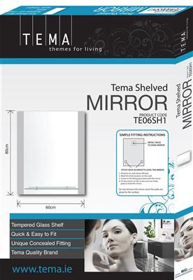 TEMA BEVELLED MIRROR ARCHED 60X40CM WITH 1 SHELF
