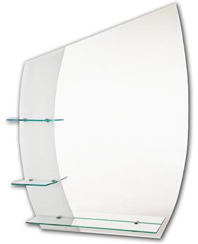 TEMA ETCHED MIRROR CURVED 90X70CM WITH 3 SHELVES